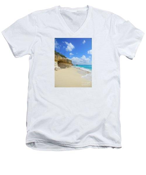 Sand Sea And Sky Men's V-Neck T-Shirt by Expressionistart studio Priscilla Batzell