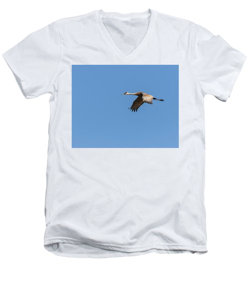 Men's V-Neck T-Shirt featuring the photograph Sandhill Crane 2017-1 by Thomas Young