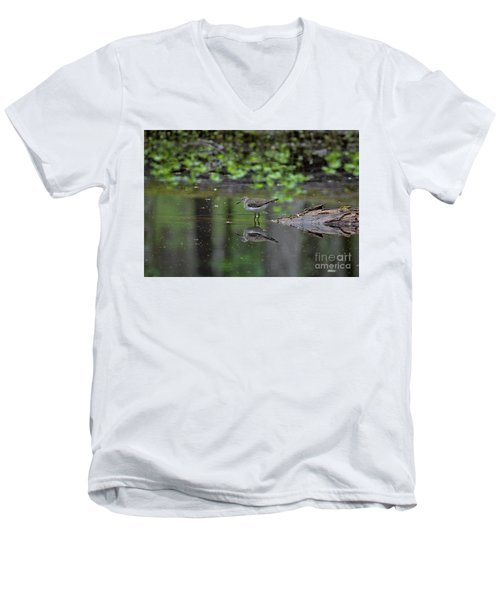 Men's V-Neck T-Shirt featuring the photograph Sandpiper In The Smokies II by Douglas Stucky