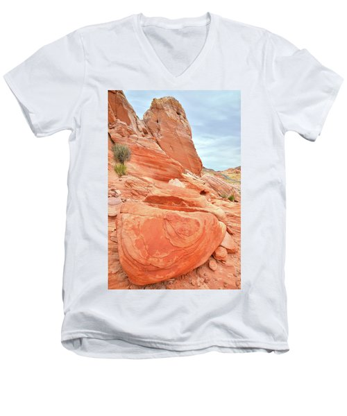 Men's V-Neck T-Shirt featuring the photograph Sandstone Pillar In Valley Of Fire by Ray Mathis