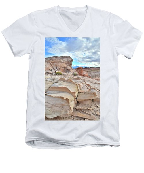 Sandstone Staircase In Valley Of Fire Men's V-Neck T-Shirt by Ray Mathis