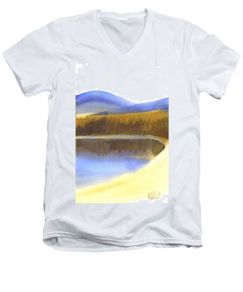 Men's V-Neck T-Shirt featuring the painting Sandy Blue Dusky Mountain Lake by Kip DeVore