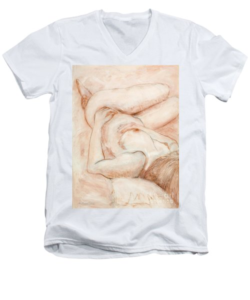 Sanguine Nude Men's V-Neck T-Shirt by Kerryn Madsen-Pietsch