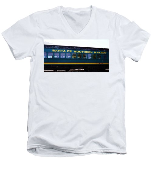 Santa Fe Train Men's V-Neck T-Shirt by Joseph Frank Baraba