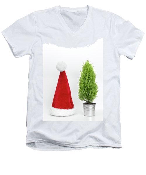 Santa Hat And Little Christmas Tree Men's V-Neck T-Shirt by GoodMood Art