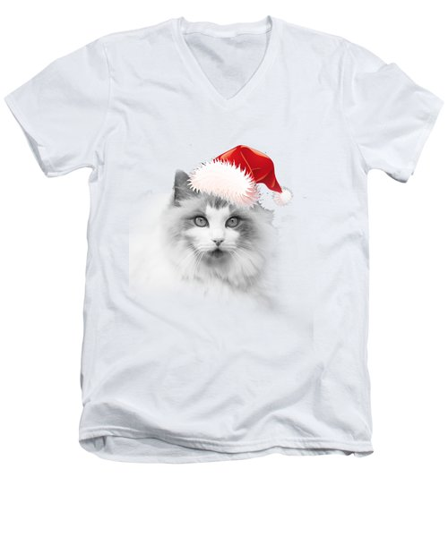 Santa Kitty Men's V-Neck T-Shirt