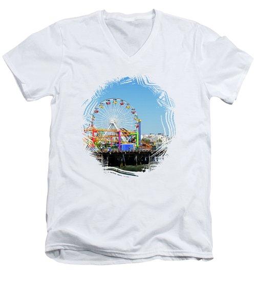Santa Monica Ferris Wheel Men's V-Neck T-Shirt by Stefanie Juliette