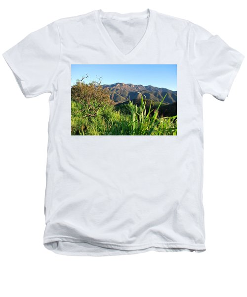 Santa Monica Mountains Green Landscape Men's V-Neck T-Shirt