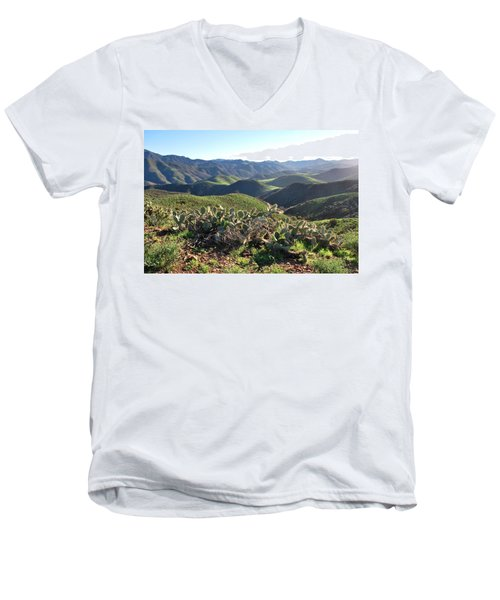 Santa Monica Mountains - Hills And Cactus Men's V-Neck T-Shirt