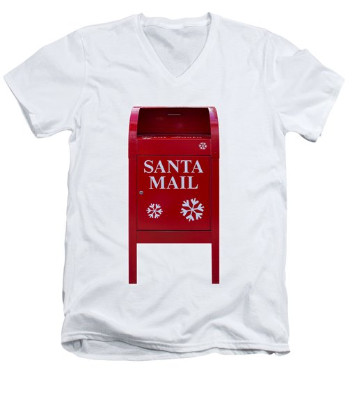 Santa Red Mail Box Men's V-Neck T-Shirt