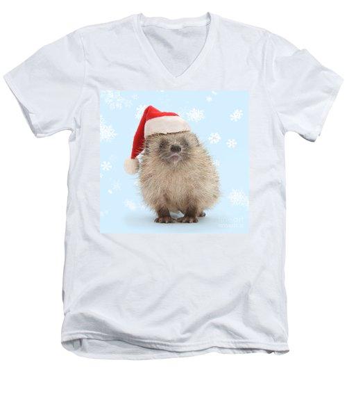 Santa's Prickly Pal Men's V-Neck T-Shirt