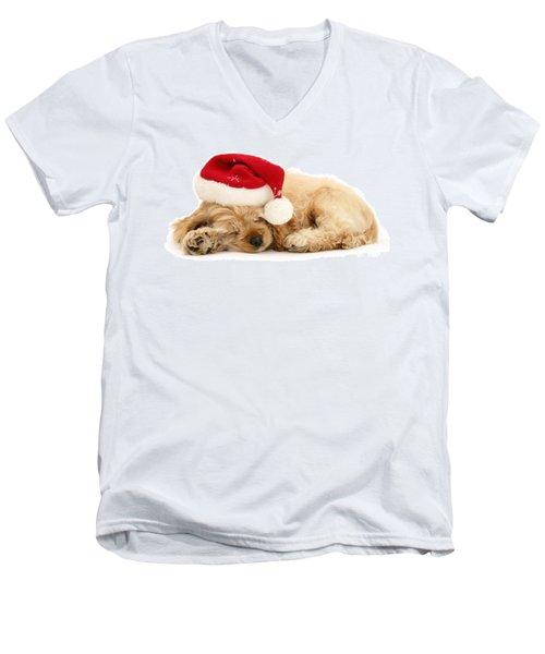 Santa's Sleepy Spaniel Men's V-Neck T-Shirt