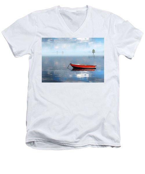 Men's V-Neck T-Shirt featuring the photograph Santee Lakes Serenity by Deborah Smith