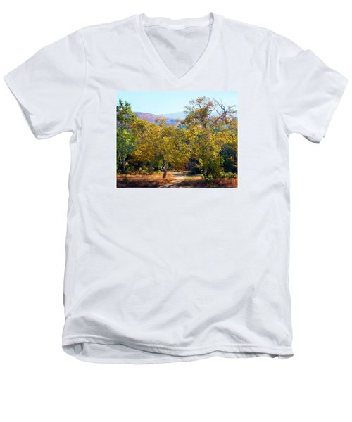 Men's V-Neck T-Shirt featuring the photograph Santiago Creek Trail by Timothy Bulone