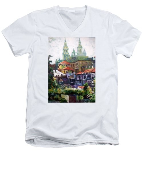 Men's V-Neck T-Shirt featuring the painting Santiago  Spain by Paul Weerasekera