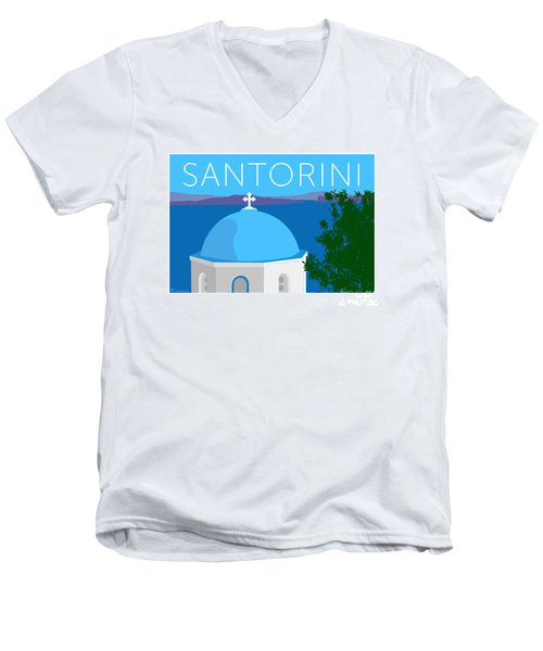 Santorini Dome - Blue Men's V-Neck T-Shirt