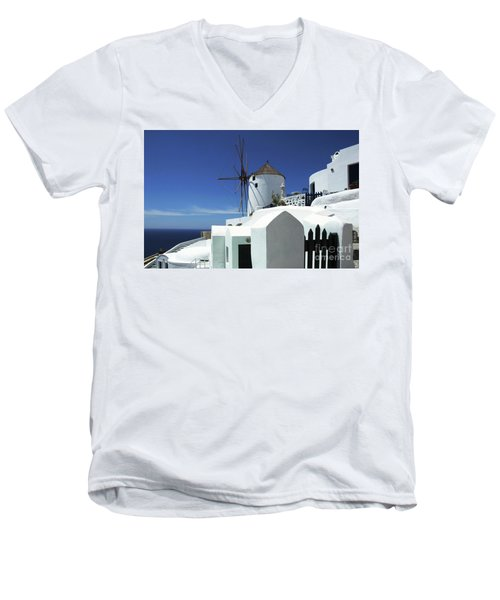 Men's V-Neck T-Shirt featuring the photograph Santorini Greece Architectual Line 5 by Bob Christopher