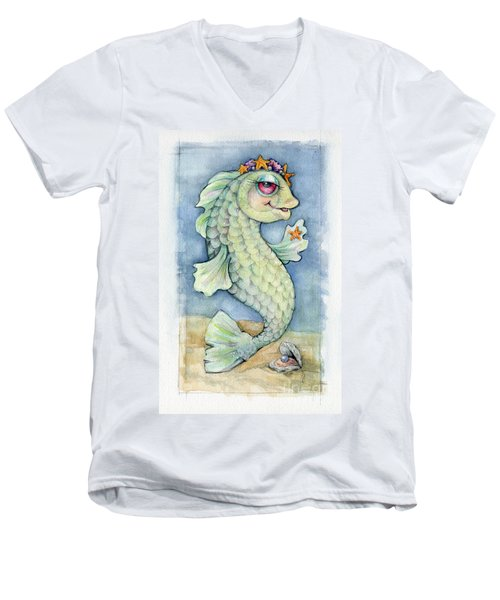 Men's V-Neck T-Shirt featuring the painting Sarafina Seabling by Lora Serra