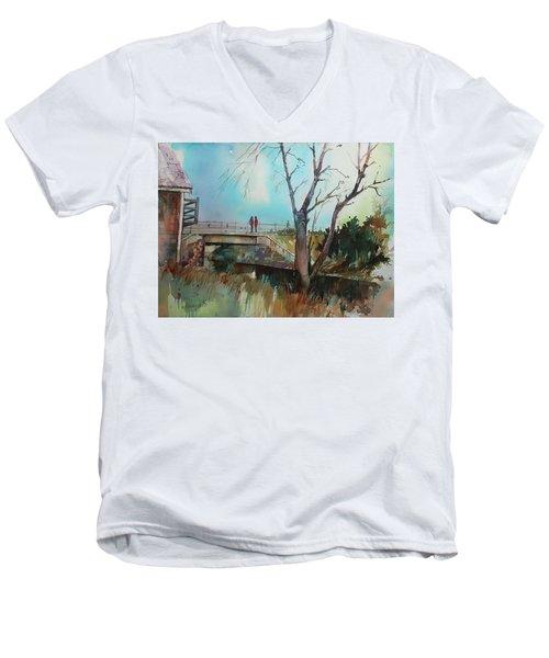 Sara's Viewi Of The Jones River Men's V-Neck T-Shirt by P Anthony Visco