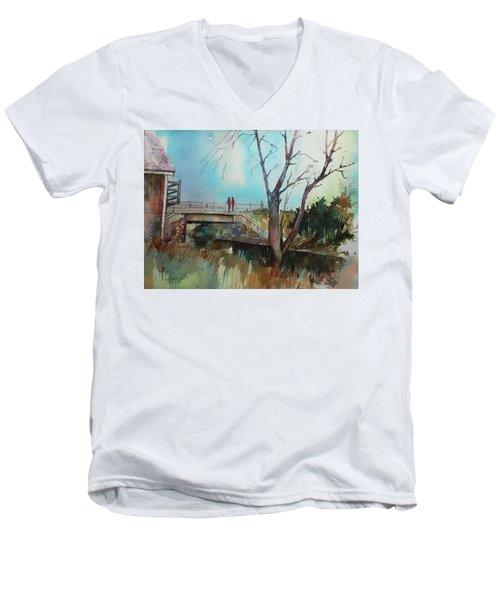 Sara's View Of The Jones River Men's V-Neck T-Shirt