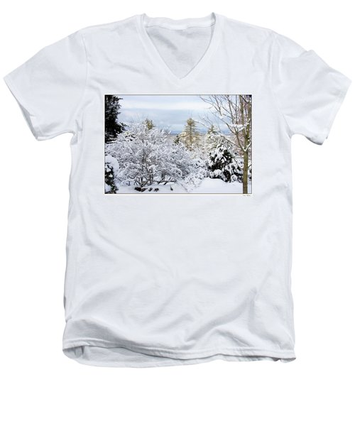 Saratoga Winter Scene Men's V-Neck T-Shirt by Lise Winne