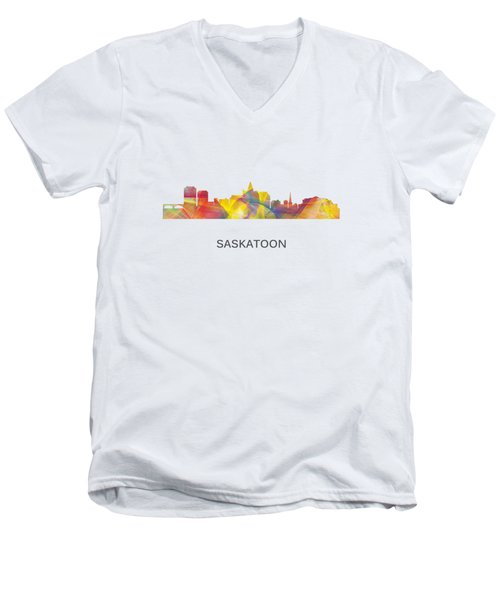 Saskatoon Sask.skyline Men's V-Neck T-Shirt by Marlene Watson