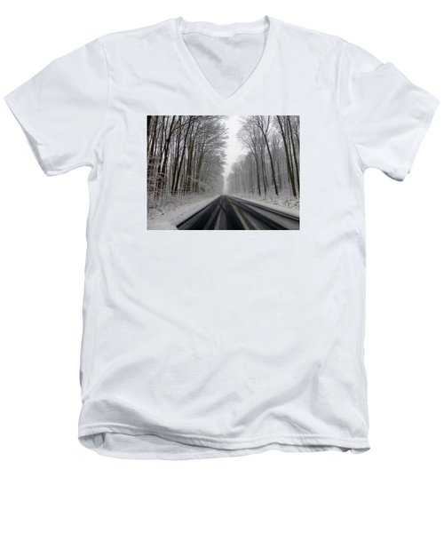 Saturday First Snow Of 2015 Men's V-Neck T-Shirt by Tina M Wenger