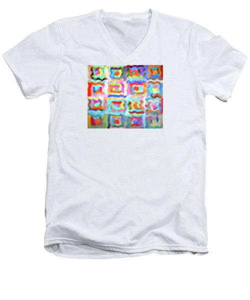 Men's V-Neck T-Shirt featuring the photograph Saturday Quilting Muse by Gwyn Newcombe