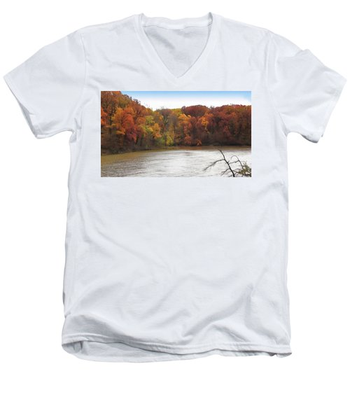 Sauk Lake Autumn Men's V-Neck T-Shirt by Cedric Hampton