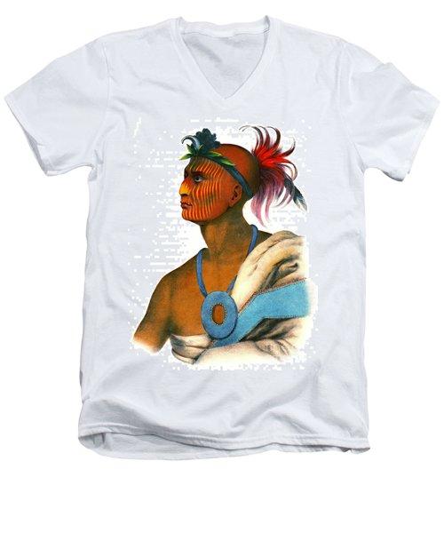Men's V-Neck T-Shirt featuring the photograph Sauk Warrior 1842 by Padre Art