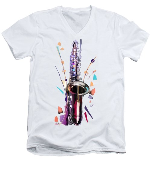 Saxophone Men's V-Neck T-Shirt by Melanie D