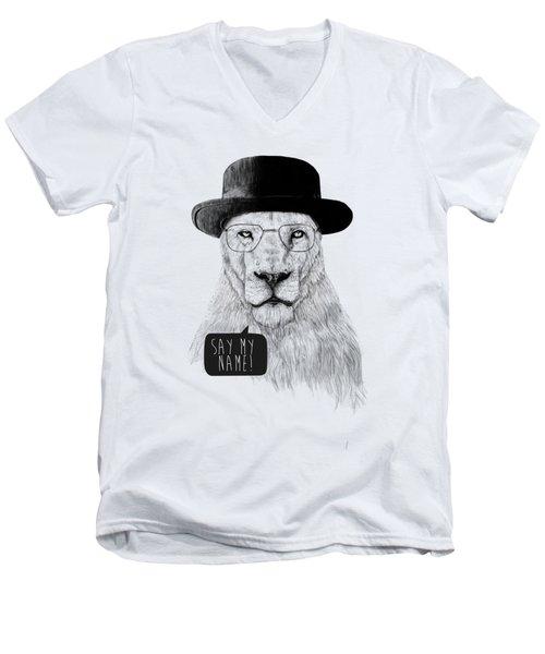 Say My Name Men's V-Neck T-Shirt by Balazs Solti