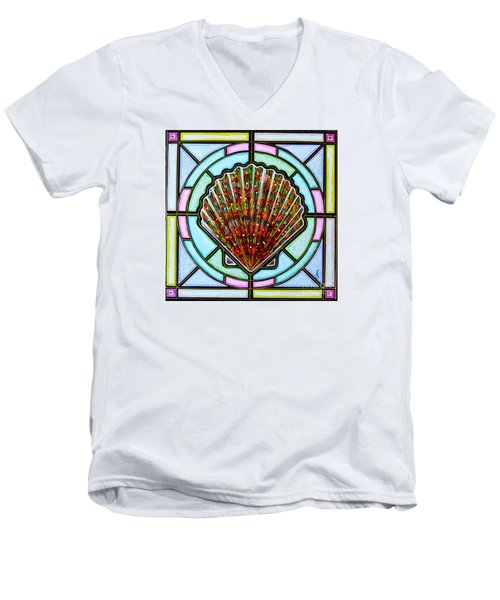 Men's V-Neck T-Shirt featuring the painting Scallop Shell 1 by Jim Harris