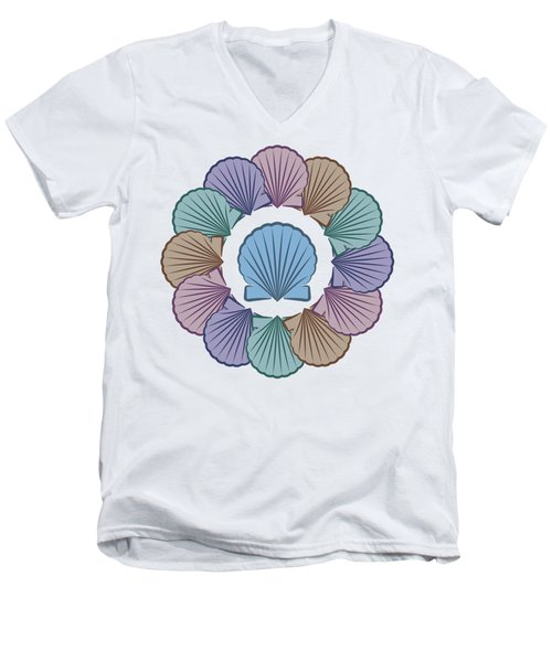 Scallop Shells Circle Multi Color Men's V-Neck T-Shirt