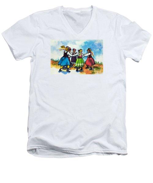 Scandinavian Dancers Men's V-Neck T-Shirt by Kathy Braud