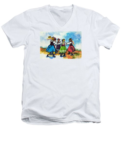 Scandinavian Dancers Men's V-Neck T-Shirt