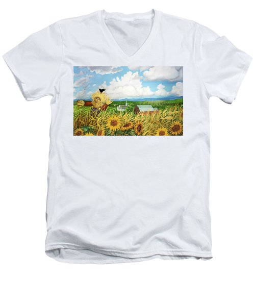 Scarecrow Farm Men's V-Neck T-Shirt by Bonnie Siracusa