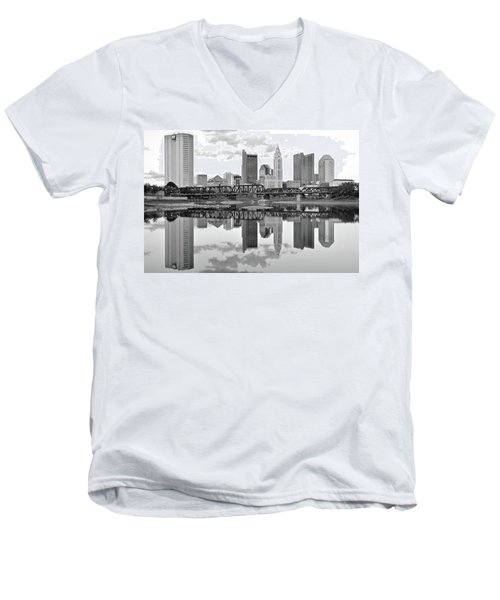 Men's V-Neck T-Shirt featuring the photograph Scarlet And Columbus Gray by Frozen in Time Fine Art Photography