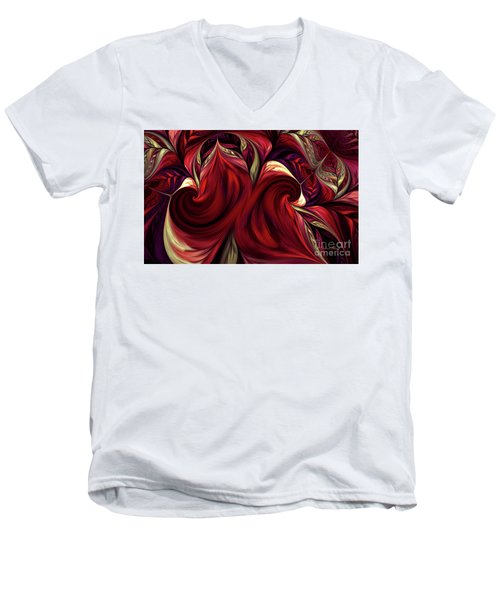 Men's V-Neck T-Shirt featuring the digital art Scarlet Red by Deborah Benoit