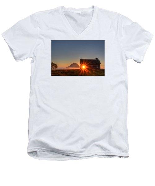 Schoolhouse Sunburst Men's V-Neck T-Shirt by Fiskr Larsen