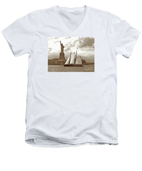 Schooner At Statue Of Liberty Twurl Men's V-Neck T-Shirt by Tom Wurl