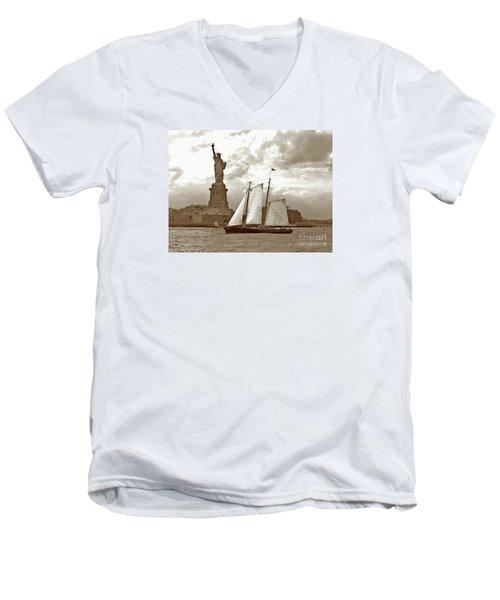 Schooner At Statue Of Liberty Twurl Men's V-Neck T-Shirt
