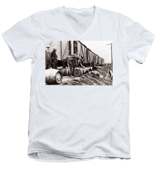 Scranton Police Dumping Beer During Prohibition  Scranton Pa 1920 To 1933 Men's V-Neck T-Shirt