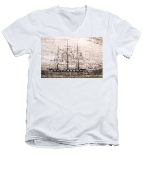 Scrimshaw Whale Panbone Men's V-Neck T-Shirt