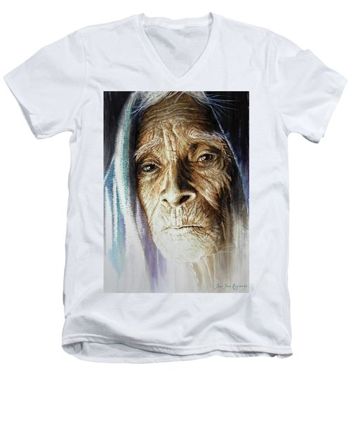 Men's V-Neck T-Shirt featuring the painting Scripts Of Ancestral Light  by J- J- Espinoza