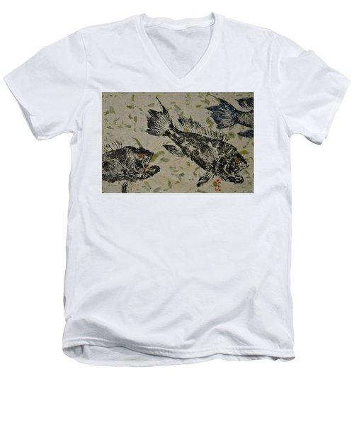 Sea Bass School On Olive Mango Paper  Men's V-Neck T-Shirt