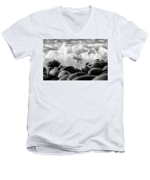 Men's V-Neck T-Shirt featuring the photograph Sea Foam B-w by Sergey Simanovsky