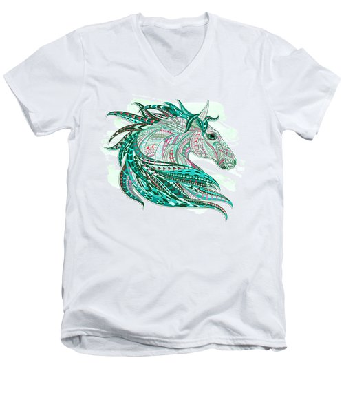 Sea Green Ethnic Horse Men's V-Neck T-Shirt