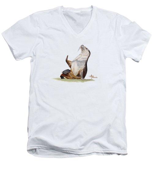 Sea Lion Watercolor II Men's V-Neck T-Shirt