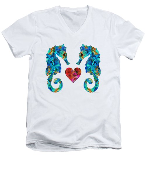 Men's V-Neck T-Shirt featuring the painting Sea Lovers - Seahorse Beach Art By Sharon Cummings by Sharon Cummings